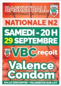 Basket - VBC reçoit Valence Condom