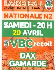 Basket - VBC reçoit Dax Gamarde