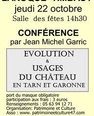 """Conférence """"Evolutions et usages du châteaux du moyen âge à nos jours en Tarn et Garonne"""""""